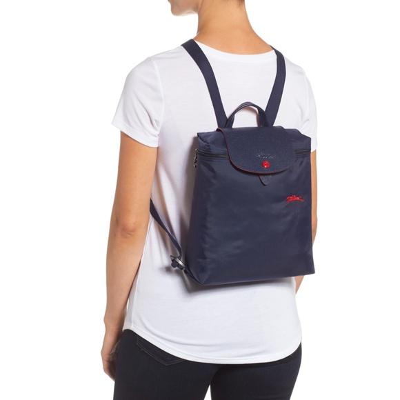 Longchamp Navy Le Pliage Club Mini Canvas Backpack